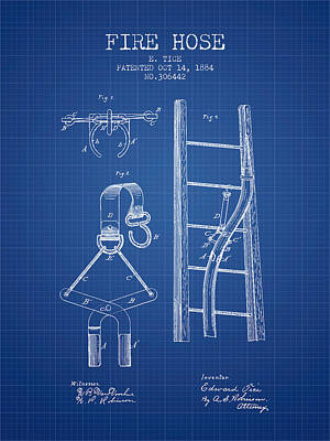 1884 Fire Hose Patent - Blueprint Poster by Aged Pixel