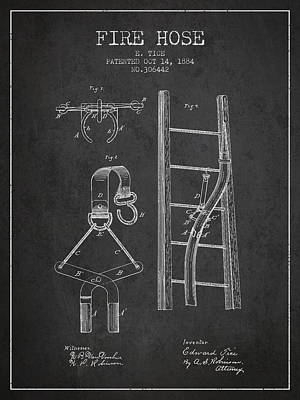 1884 Fire Hose Patent - Charcoal Poster by Aged Pixel