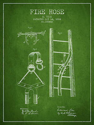 1884 Fire Hose Patent - Green Poster by Aged Pixel