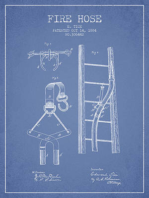 1884 Fire Hose Patent - Light Blue Poster by Aged Pixel