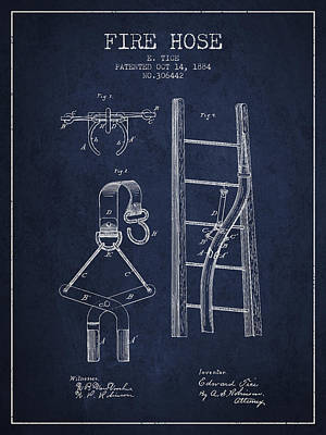 1884 Fire Hose Patent - Navy Blue Poster by Aged Pixel