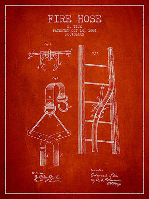 1884 Fire Hose Patent - Red Poster by Aged Pixel