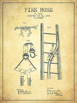1884 Fire Hose Patent - Vintage Poster by Aged Pixel