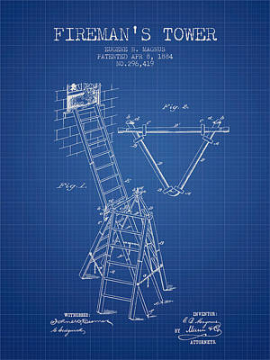 1884 Firemans Tower Patent - Blueprint Poster by Aged Pixel