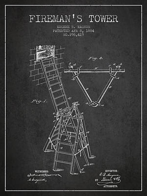 1884 Firemans Tower Patent - Charcoal Poster by Aged Pixel