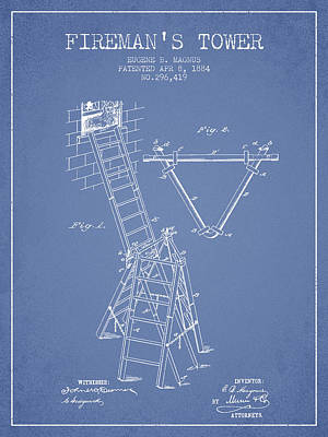 1884 Firemans Tower Patent - Light Blue Poster by Aged Pixel