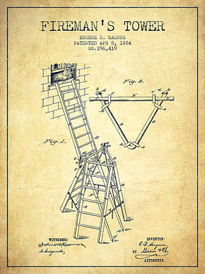 1884 Firemans Tower Patent - Vintage Poster by Aged Pixel