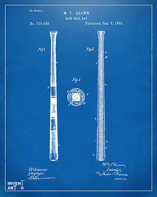 1885 Baseball Bat Patent Artwork - Blueprint Poster by Nikki Marie Smith