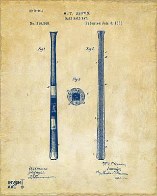 1885 Baseball Bat Patent Artwork - Vintage Poster by Nikki Marie Smith