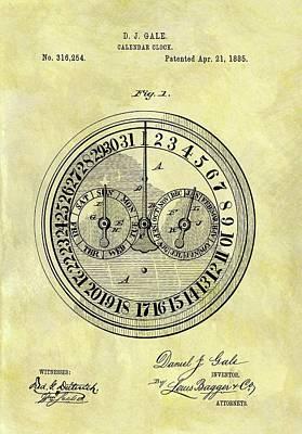 1885 Calendar Clock Patent Poster by Dan Sproul