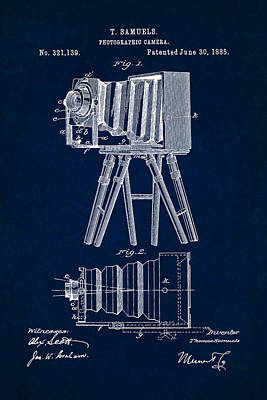 1885 Camera Us Patent Invention Drawing - Dark Blue Poster