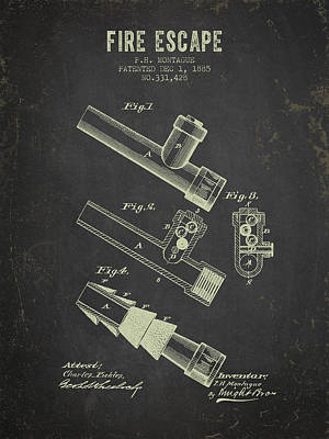 1885 Fire Escape Patent- Dark Grunge Poster by Aged Pixel