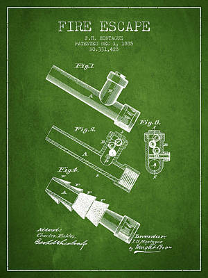 1885 Fire Escape Patent - Green Poster by Aged Pixel