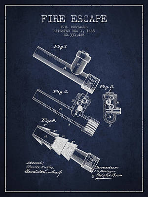 1885 Fire Escape Patent - Navy Blue Poster by Aged Pixel