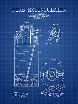 1885 Fire Extinguisher Patent - Blueprint Poster by Aged Pixel
