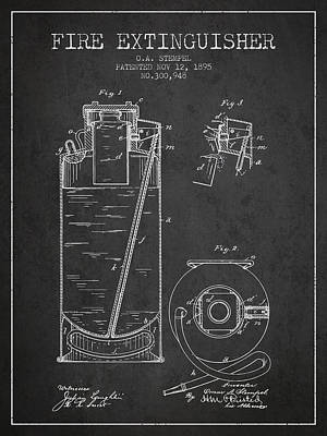 1885 Fire Extinguisher Patent - Charcoal Poster by Aged Pixel