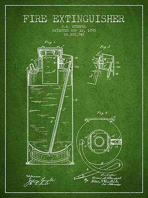 1885 Fire Extinguisher Patent - Green Poster by Aged Pixel