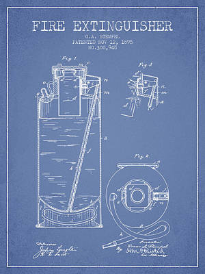 1885 Fire Extinguisher Patent - Light Blue Poster by Aged Pixel