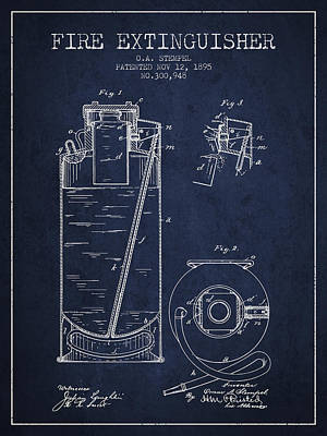 1885 Fire Extinguisher Patent - Navy Blue Poster by Aged Pixel