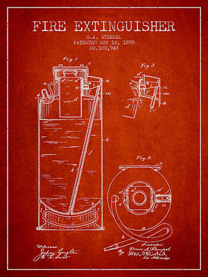 1885 Fire Extinguisher Patent - Red Poster by Aged Pixel