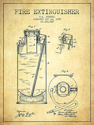 1885 Fire Extinguisher Patent - Vintage Poster by Aged Pixel