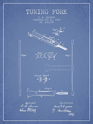 1885 Tuning Fork Patent - Light Blue Poster by Aged Pixel