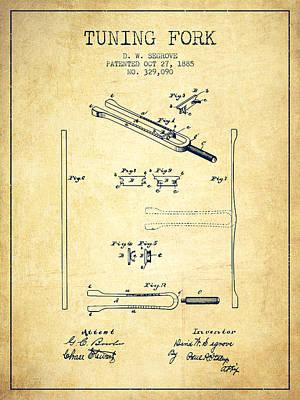 1885 Tuning Fork Patent - Vintage Poster