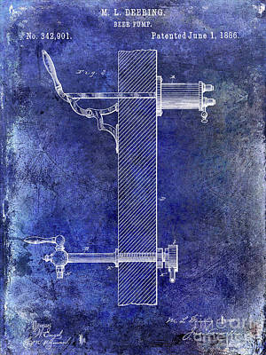 1886 Beer Pump Patent Blue Poster