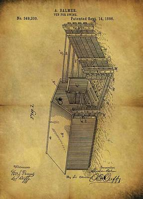 1886 Swine Pen Patent Poster