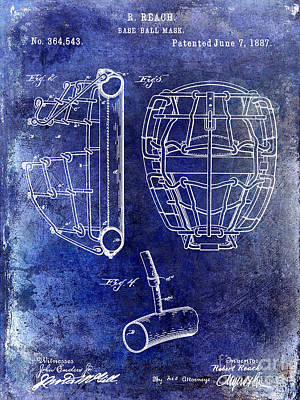1887 Baseball Mask Patent Blue Poster by Jon Neidert