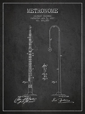 1887 Metronome Patent - Charcoal Poster by Aged Pixel