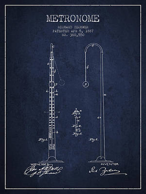 1887 Metronome Patent - Navy Blue Poster by Aged Pixel