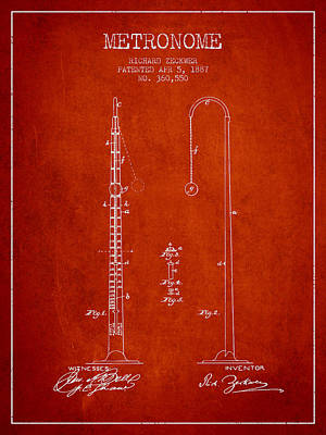 1887 Metronome Patent - Red Poster by Aged Pixel