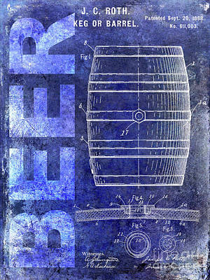 1889 Beer Barrel Patent Blue Poster by Jon Neidert