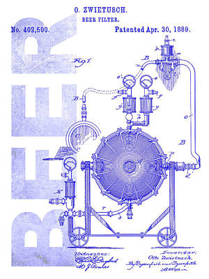 1889 Beer Filter Patent Blueprint Poster