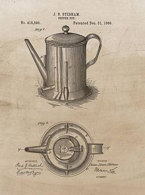 1889 Coffee Pot Patent Illustration Poster by Dan Sproul