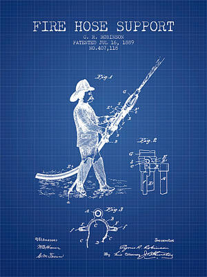 1889 Fire Hose Support Patent - Blueprint Poster by Aged Pixel