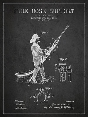 1889 Fire Hose Support Patent - Charcoal Poster by Aged Pixel