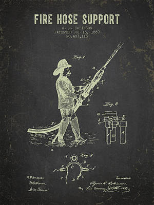 1889 Fire Hose Support Patent- Dark Grunge Poster by Aged Pixel