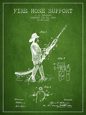 1889 Fire Hose Support Patent - Green Poster by Aged Pixel