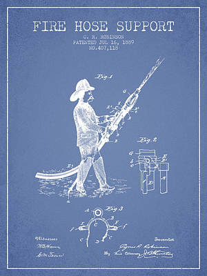 1889 Fire Hose Support Patent - Light Blue Poster