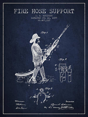 1889 Fire Hose Support Patent - Navy Blue Poster by Aged Pixel