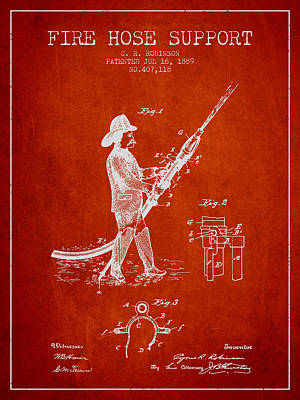 1889 Fire Hose Support Patent - Red Poster by Aged Pixel