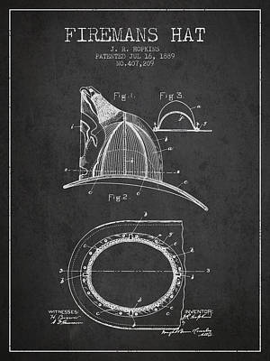 1889 Firemans Hat Patent - Charcoal Poster by Aged Pixel