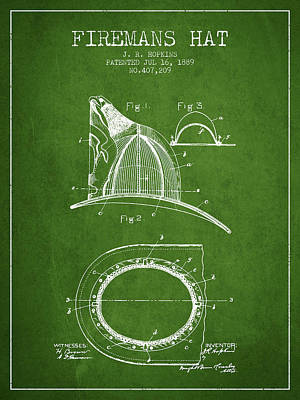 1889 Firemans Hat Patent - Green Poster by Aged Pixel