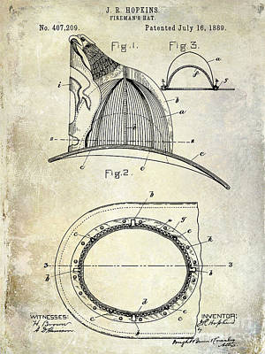1889 Firemans Hat Patent Poster by Jon Neidert