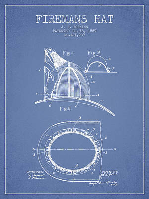 1889 Firemans Hat Patent - Light Blue Poster by Aged Pixel