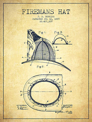1889 Firemans Hat Patent - Vintage Poster by Aged Pixel