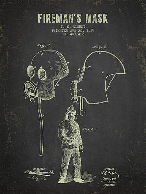 1889 Firemans Mask Patent - Dark Grunge Poster by Aged Pixel
