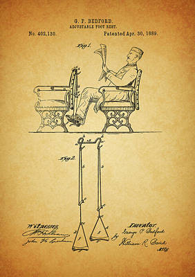 1889 Foot Rest Patent Poster